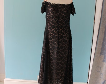 Original vintage 1950s Christian Dior, London black lace dress