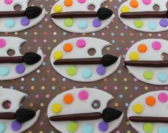 12 fondant cupcake toppers--paint palette, artists' palette