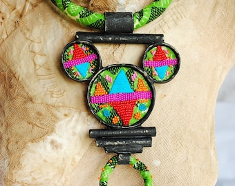 Statement, fabric textile, mixed media, african ethnic tribal exotic necklace - In the jungle