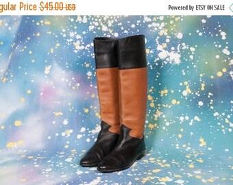 30% OFF Tall BLACK & BEIGE Boots Women's Size 7