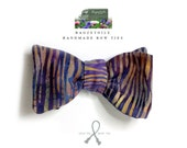 bow tie - hand printed fabric - freestyle for men from Bagzetoile.