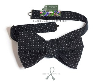 BIG Bow Tie - midnight blue with pindots - I make freestyle bow ties for men / bowtie for him, self tie men's bowtie.