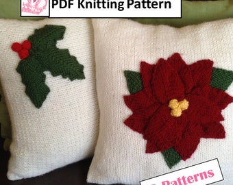 """Christmas Knitting Pattern bundle, Holly Leaves 12""""x16"""" or 16""""x16"""" and Poinsettia 16""""x16"""" pillow covers, 2 PDF knitting patterns"""