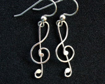 Treble Clef Earrings - Sterling Silver Wire Wrapped Dangle - Music Lover, Piano, Musical Jewelry