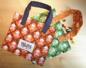 Sale Halloween Treat Bag was 4.75. Green or Orange Skull and Crossbones Trick and Treat Tote. Reusable mini shopper for Hallow'een fun!