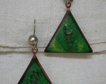 Ugly Christmas Earrings: Mod era Enamel Triangles. Emerald Green. Late 1960s