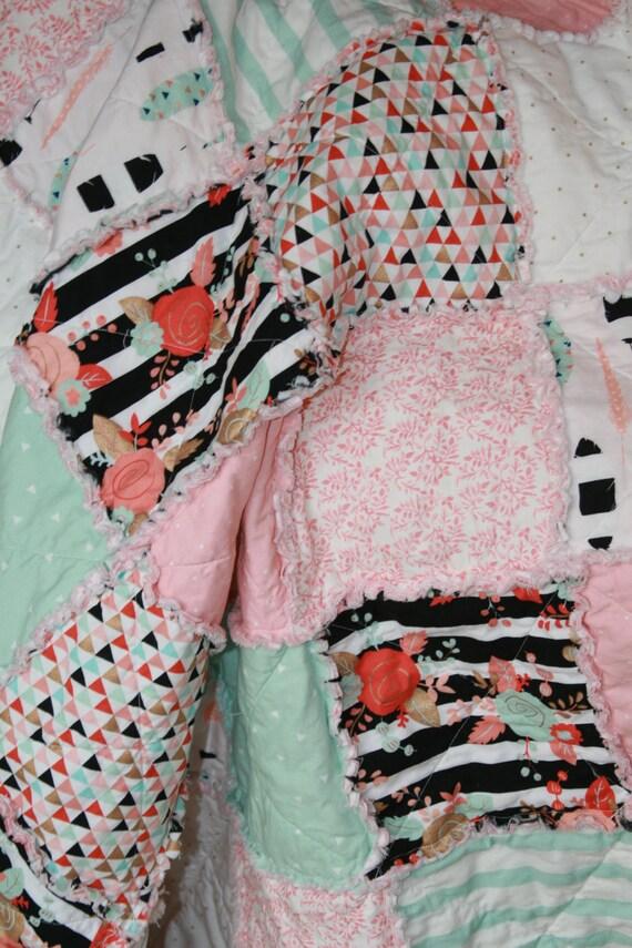 Crib Rag Quilt Baby Girl Crib Bedding Tribal Nursery By