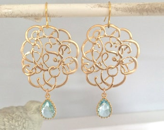 Gold Earrings, Gold Lace Earrings, Dangle Earrings, Mothers Day Gifts, Best Friend Gifts, Bridesmaid Gifts, Bridesmaid Earrings, Girlfriend