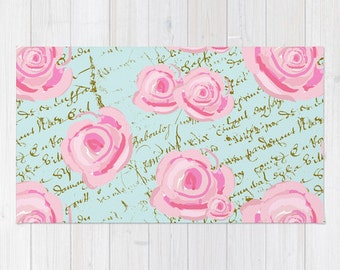 Rug, Shabby Chic Roses on power Blue with French script