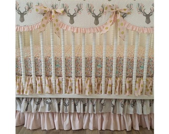 Girl Crib Bedding- Deer Baby Bedding- MADE to ORDER--BUMPERLESS Deer Crib Bedding- Baby Bedding- Made to Order- Pale Pink and Gold
