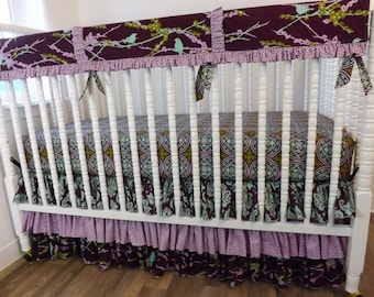 Girl Crib Bedding- Bird Baby Bedding- READY to SHIP BUMPERLESS Crib Bedding- Baby Bedding--Bird Girl Baby Bedding