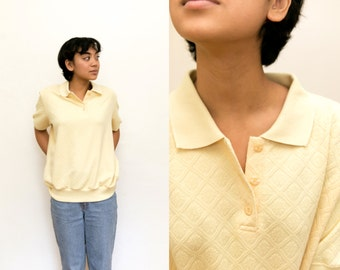 Floral Printed Shirt / 90s Yellow Polo Shirt / Pastel Collared 50s Short Sleeve Blouse / Stretchy Grunge Button Up Quilted Flower Mod Unisex