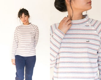 90s Striped Shirt / Striped Mock Neck Shirt / Striped Long Sleeve / Stretch Multi Color Turtleneck Heather Grey Lacoste Womens Small Medium