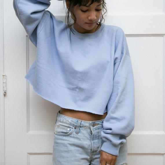 Gap Blue Cropped Sweatshirt Womens Crop Top Sweater Baby