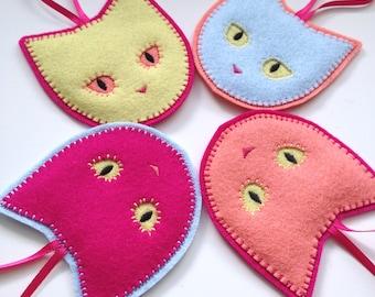 NEON CATS - 4 felt ornaments - Christmas ornaments - neon cat ornaments - wool felt - set of 4