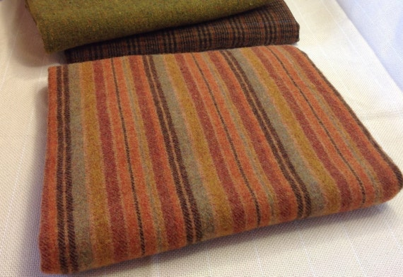 Pumpkin Orange Stripe,  Wool Fabric for Rug Hooking and Appliqué, One yard, Half Yard, Quarter Yard, W153