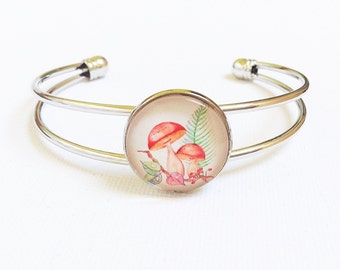 Glass cabochon silver plated bangle, unique birthday present for daughter sister friend, shabby chic style toadstool fairy garden bracelet