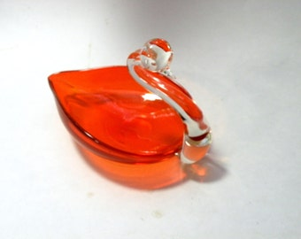Duncan Miller Glass- Vintage Hand Blown Glass- Swan Figurine- Soap Dish- Candy Dish- Orange