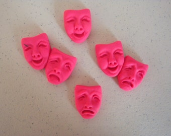 Lot of 4 Neon Pink Polymer Clay Theater Mask Bead Pendants