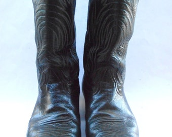 Vintage Black Leather Mens Boots Nocona Cowboy U.S. Size 10D Western Southwestern White Double Stitching Light Blue Pointed Toes Wing Flames