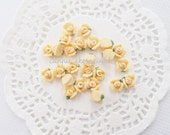 10pcs - Small Ceramic Tea Time Butter Yellow Rose Decoden Cabochon (8mm) FL10021