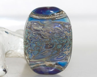 Blue with Too Much Brown Organic Lampwork Glass Focal Bead