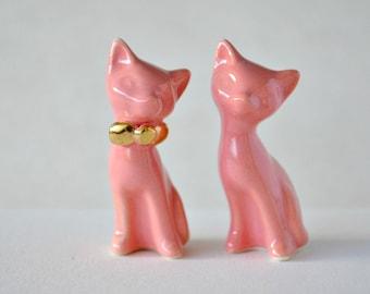 Cat cake topper, wedding cake topper, gold blush pink - coral wedding, ceramic cat cake topper wedding, wedding keepsake