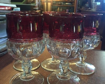 5 Tiffin Cranberry Flash Clear Kings Crown Ruby Franciscan Thumbprint Wine Goblets Glass
