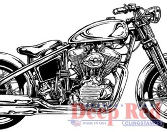 Deep Red Rubber Stamp Hardtail Motorcycle Chopper Bike Image