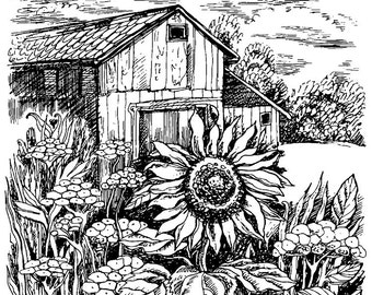 Deep Red Rubber Stamp Harvest Sunflower Garden Flower Botanical with Barn Farm