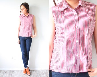 Vintage summer plaid shirt // red checkered top // short sleeve shirt // checkered tank top // tied up top // crop top // picnic top // 80's