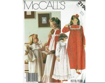 Girls Nightgown & Robe plus Dolls Nightgown 1980s Uncut Sewing Pattern Sizes 2-4, 4-6, 8-10, 12-14 Children nightie Pattern McCalls 2190