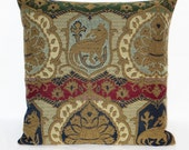 """Coat of Arms Pillow, 18"""" Square Brocade, Medieval Griffon, Red Blue Green Gold Tapestry, Zipper Cover Only or Insert Included, Ready to Ship"""