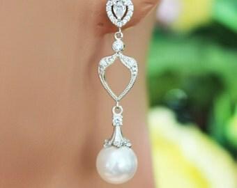 Crystal Pearl Drop Wedding Earrings, Crystal Chandelier Bridal Earrings, Pearl Drop Bridesmaids Earrings, Bridal Accessories