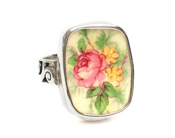 Size 8.5 Broken China Jewelry Eggshell Pink Rose Flower Sterling Ring