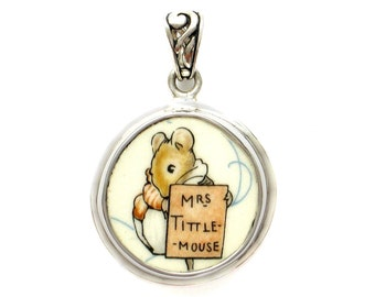 Broken China Jewelry Beatrix Potter Mrs. Tittle Mouse B Sterling Pendant