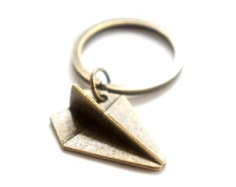 Origami Plane Key Ring - Antiqued Brass Vintage Style Key Ring Key Chain - KR36