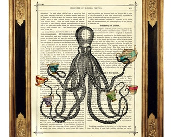 Octopus Kraken Tea Party Cups Tentacles - Vintage Victorian Book Page Art Print Steampunk