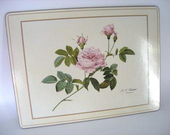 Vintage Rose Pimpernel Placemats, Large Set of Four