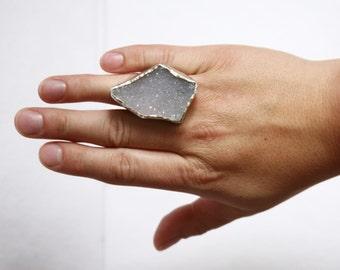 Drusy Ring Handmade, Raw Gemstone, Statement Ring, Blue Druzy Ring, Druzy Quartz Jewelry