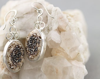 leaf swirl oval porcelain earrings|sterling silver