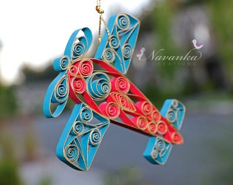 Paper Quilled Airplane,Red and Blue Airplane Ornament in a gift box, Paper Airplane, Airplane Keepsake