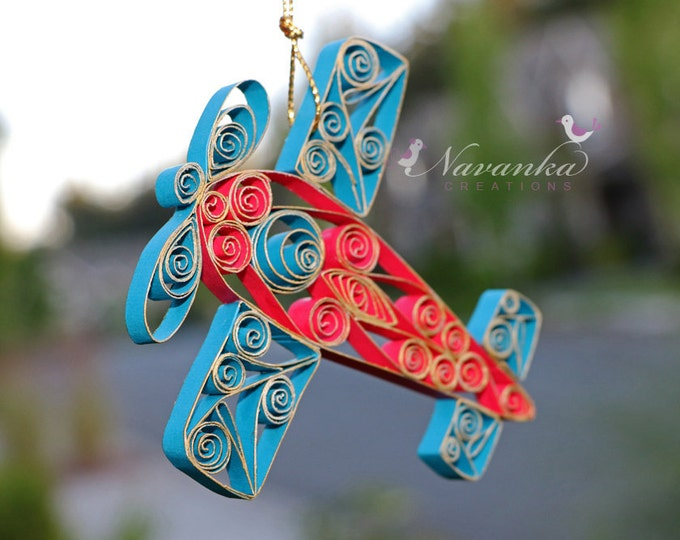 Paper Quilled Airplane,Red and Blue Airplane Ornament in a gift box, Paper Airplane, Airplane Keepsake,Baby Shower, Birthday, Pilot