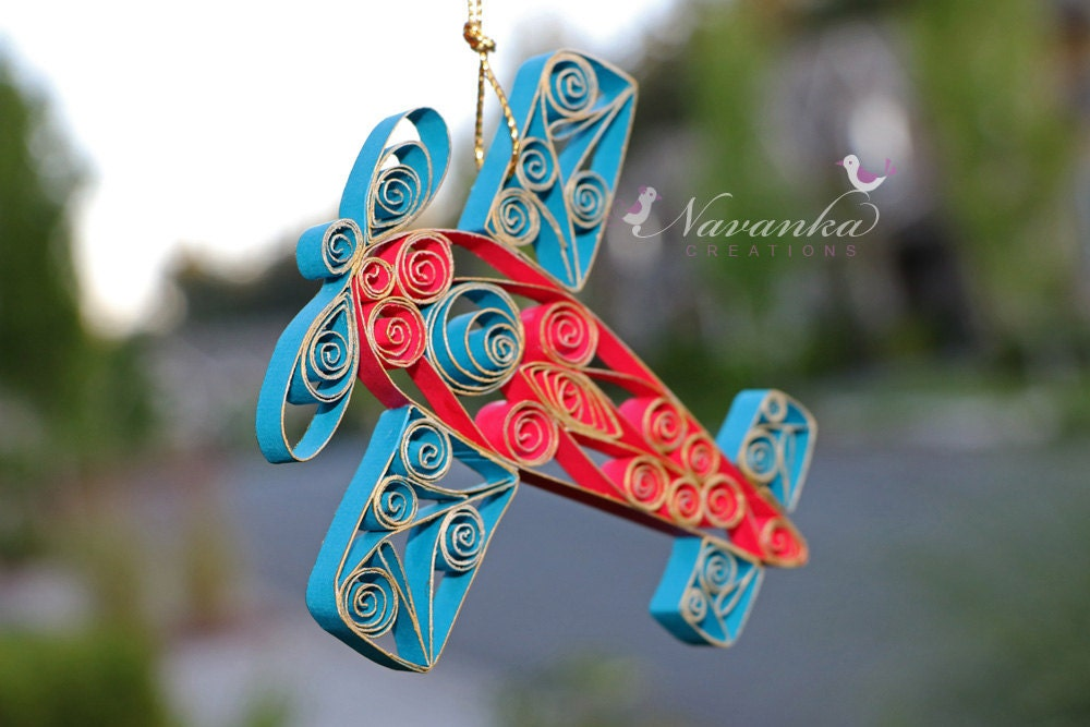 Paper Quilled AirplaneRed And Blue Airplane Ornament In A Gift - Box paper airplane
