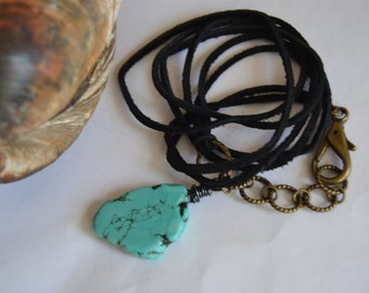 BLACK SUEDE WRAP Bracelet Necklace Turquoise Slab Charm Antique Brass Clip Closure and Chain