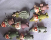 snow white and 7 dwarfs ornaments christmas, vintage ornaments, 50's perfect