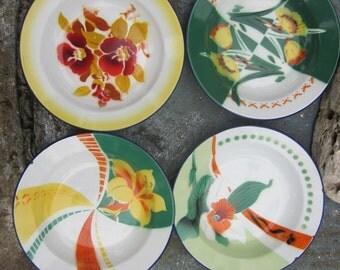 set of 4 enamel floral bowls large enamel bowls, flowers