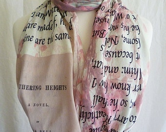 Wuthering Heights Scarf, Emily Bronte Scarf, Literature Scarf, UK Book Scarves By Rooby Lane