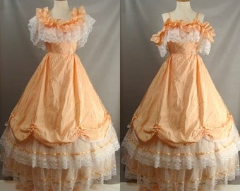 As-Is. Southern Belle Costume. Hoop Dress. vintage 80s Peach Gown OR Customizable Pride Predjudice Zombie Costume OPT BLOOD size 2 4 Xs S