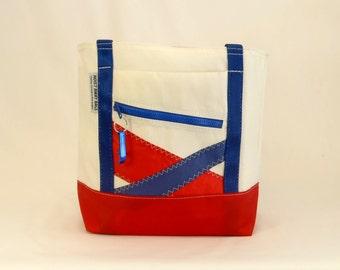 Recycled Sails, Sail Bag, Nautical Gift, Beach Bag, Nautical Bag, Gym Bag, Classic Tote, White Bag, Blue Bag, Red Bag (R3)